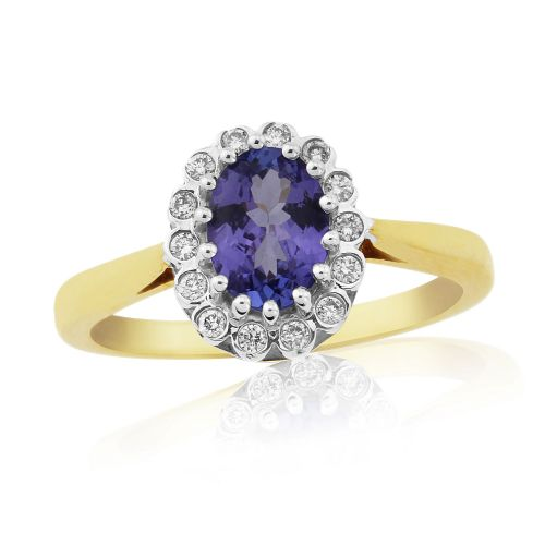 Yellow gold tanzanite and diamond oval cluster ring